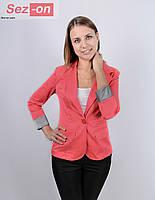 Пиджак удлиненный без подкладки рукав с отворотом (оптом)