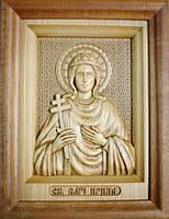 Икона деревянная резная Святой Великомученицы Ирины Македонской