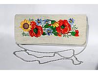 Женский вышитый клатч «Українский букет 3» серый