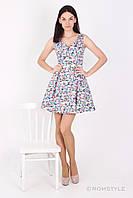 Молодіжна сукня без рукавів з принтом (бірюзова абстракція), фото 1