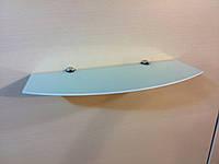 Полка стеклянная фигурная 5 мм белая 50 х 20 см, фото 1