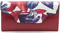 Элегантный кошелек красного цвета с цветками BALIYA art.702-3