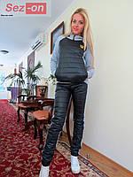 Костюм спортивный женский с плащевкой на синтепоне - Черный (оптом)