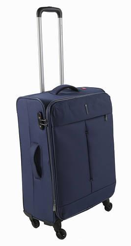 Надежный тканевый средний 4-колесный чемодан 74/87 л. Roncato IRONIC 415122 23 т. синий