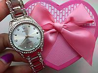 Женские часы ролекс в серебре и стразах
