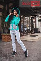 Костюм женский теплый штаны и батник - Бирюзовый (оптом)