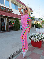 Костюм спортивный штаны и футболка Цветная полоска - Розовый (оптом)