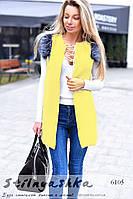 Женская кашемировая жилетка желтая с мехом