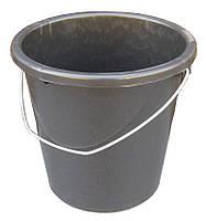Ведро пластиковое 10 литров чёрное с металлической ручкой