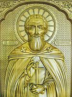 Икона деревянная резная Святого преподобного Сергия Радонежского с ажурной рамкой, фото 1