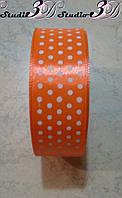 Лента атласная в горох цвет №23 шириной 2,5 см