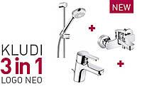 Акционный набор смесителей Kludi Logo Neo для ванны(376850575)хром, фото 1