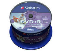 Диск VERBATIM DVD+R Wide Inkjet Printable ID Branded 4,7Gb 16x  Cake 50шт. 43651