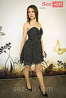 Платье в горошек с пышной юбкой и корсетом 3030 (оптом)