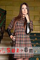 Платье женское в клетку с кожаными рукавами Митенки - Коричневый (оптом)