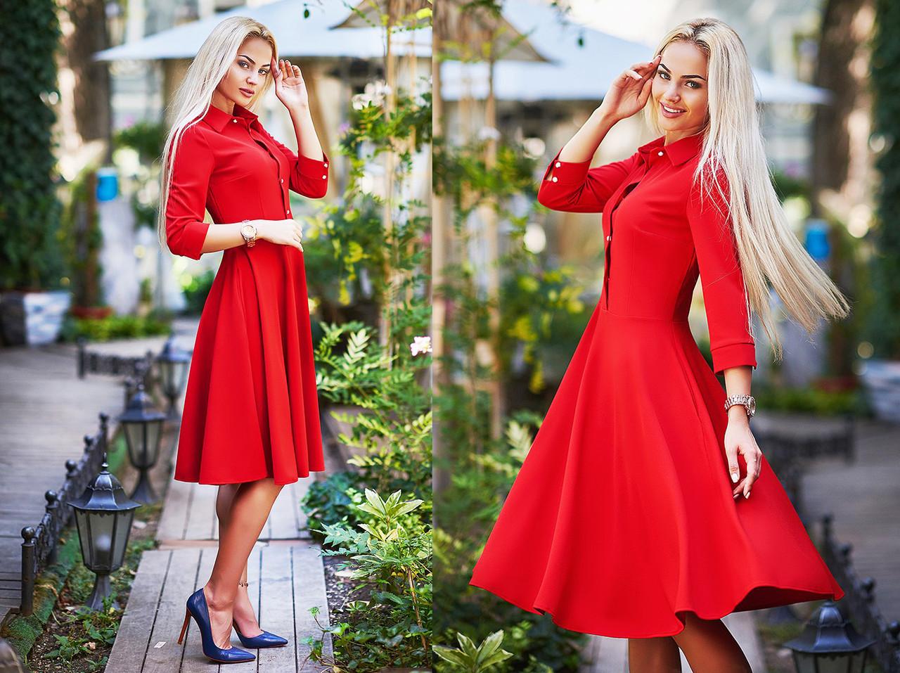"""Элегантное женское платье средней длины 206 """"Креп Клёш Миди"""" в расцветках"""