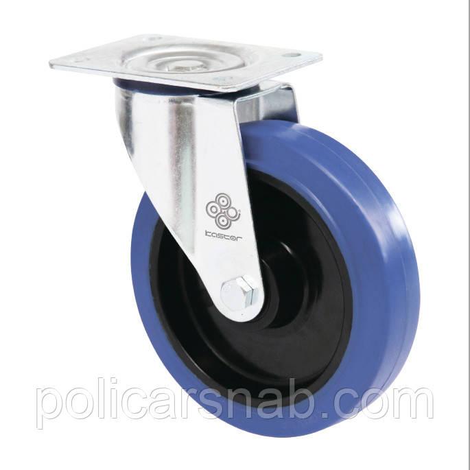 Колеса поворотные с эласт.синей резиной Norma с крепеж.панелью,с ролик.подш.Ø80,100,125,150,160,200,250мм