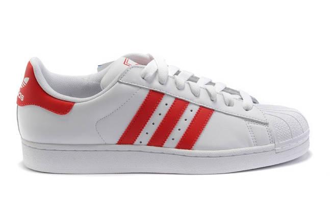 Кроссовки мужские в стиле Adidas Superstar White-Red, фото 2