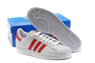 Кроссовки мужские в стиле Adidas Superstar White-Red, фото 3