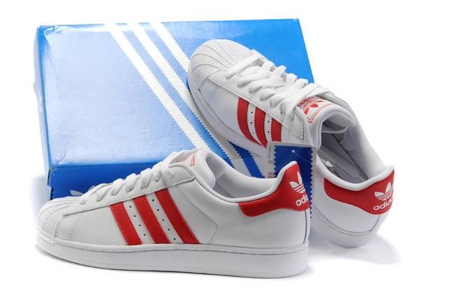 "Кроссовки женские в стиле Adidas Superstar II ""White/Red"", фото 2"