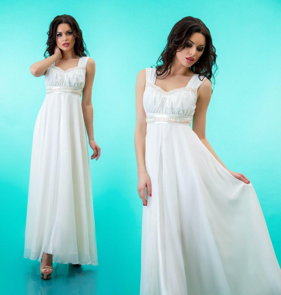 70cb7494a7b Платье длинное на лямках к выпускному из атласа и шифона - Белое (оптом)