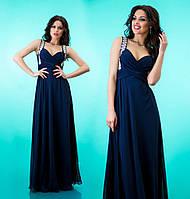 Платье шифоновое женское в пол со стразами на лямках - Темно синее (оптом)