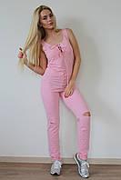 Комбинезон женский из меланжевого хлопка - Розовый (оптом)