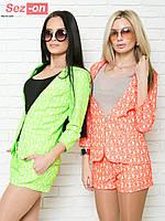 Костюм женский шортики и пиджак цветок неон - Алый (оптом)