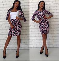 Костюм женский юбка с высокой талией и короткий пиджак на молнии Цветы (оптом)