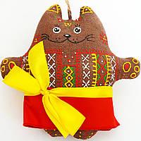 Кофейная кошка в красном платье. Украинский сувенир.