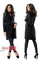 Пальто-фрак женское кашемировое - Черный (оптом)