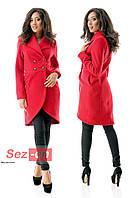 Пальто-фрак женское кашемировое - Красный (оптом)