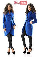 Пальто-фрак женское кашемировое - Синий (оптом)