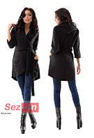 Пальто-накидка женское с капюшоном - Черный (оптом)
