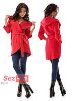 Пальто-накидка женское с капюшоном - Красный (оптом)