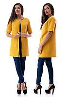 Пальто женское кашемировое с короткими рукавами - Горчица (оптом)
