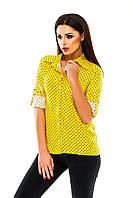 Рубашка женская на пуговицах в горошек - Желтый (оптом)