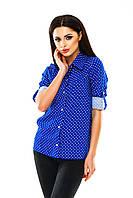 Рубашка женская на пуговицах в горошек - Электрик (оптом)