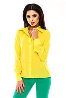 Рубашка женская однотонная с длинным рукавом - Желтый (оптом)
