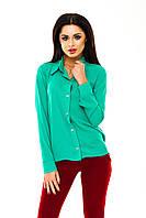 Рубашка женская однотонная с длинным рукавом - Зеленый (оптом)