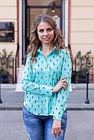 Рубашка женская Lauren с рисунком Polo Ментоловый, 48 (оптом)