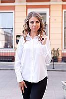 Рубашка женская Adriana свободного кроя с длинными рукавами 2002 Белый, 44 (оптом)