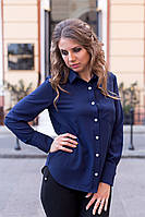 Рубашка женская Adriana свободного кроя с длинными рукавами 2002 Темно-синий, 42 (оптом)