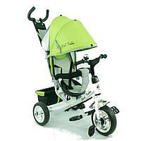 Велосипед с ручкой для мамы Best Trike 6588: зеленый, колеса пена, ремни безопасности, 95х55х80 см