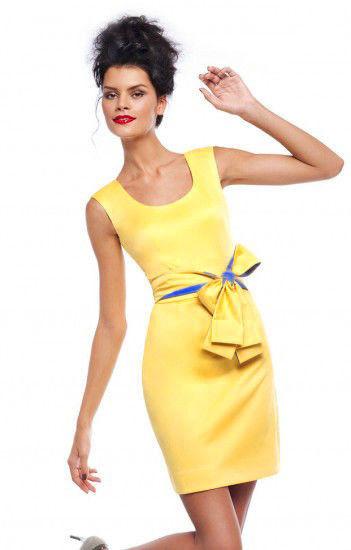 Желто-голубое платье