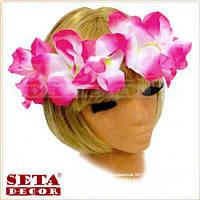 """Гавайский венок на голову """"Гавайи"""" из цветов малиновый"""