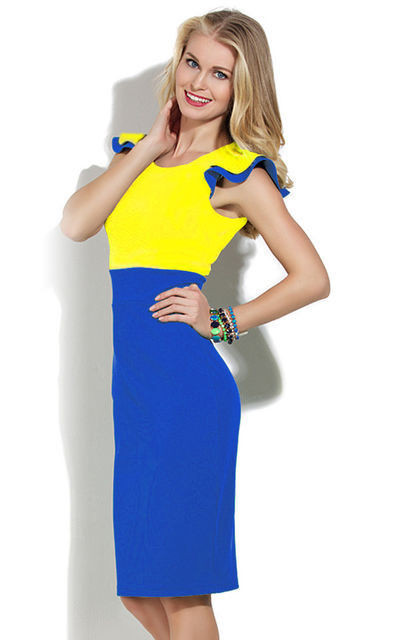 Желто синее платье
