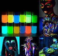 Светящиеся краски светятся в темноте  (цена за 1шт 20грам) в ассортименте 5 цветов, краска боди-арт