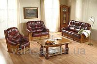 Мягкая кожаная мебель, диван на дубовом каркасе