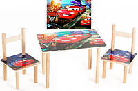 "Детский стол и 2 стульчика ""Тачки"" дерево ТМ Финекс"